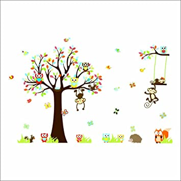 Vinyl Removable Nursery Wall Art Decor Wallpaper Squirrel Monkeys Owl Tree  Wall Decals for Baby Kids