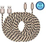 Certified Lampa 10 Feet / 3 Meter Extra Long Nylon Braided Charging Cord Data Cable for iPhone iPad and iPod ( 2 Pack)