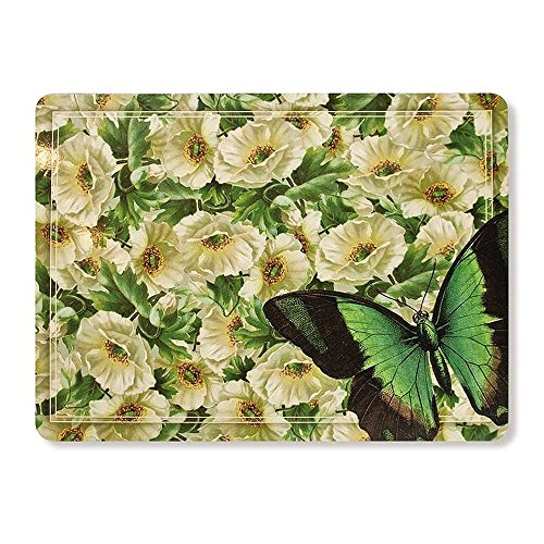 Rainy Dog Flower and Butterfly Hard Fiberboard Cork Board Placemats Set of 4 11.8 by 15.7