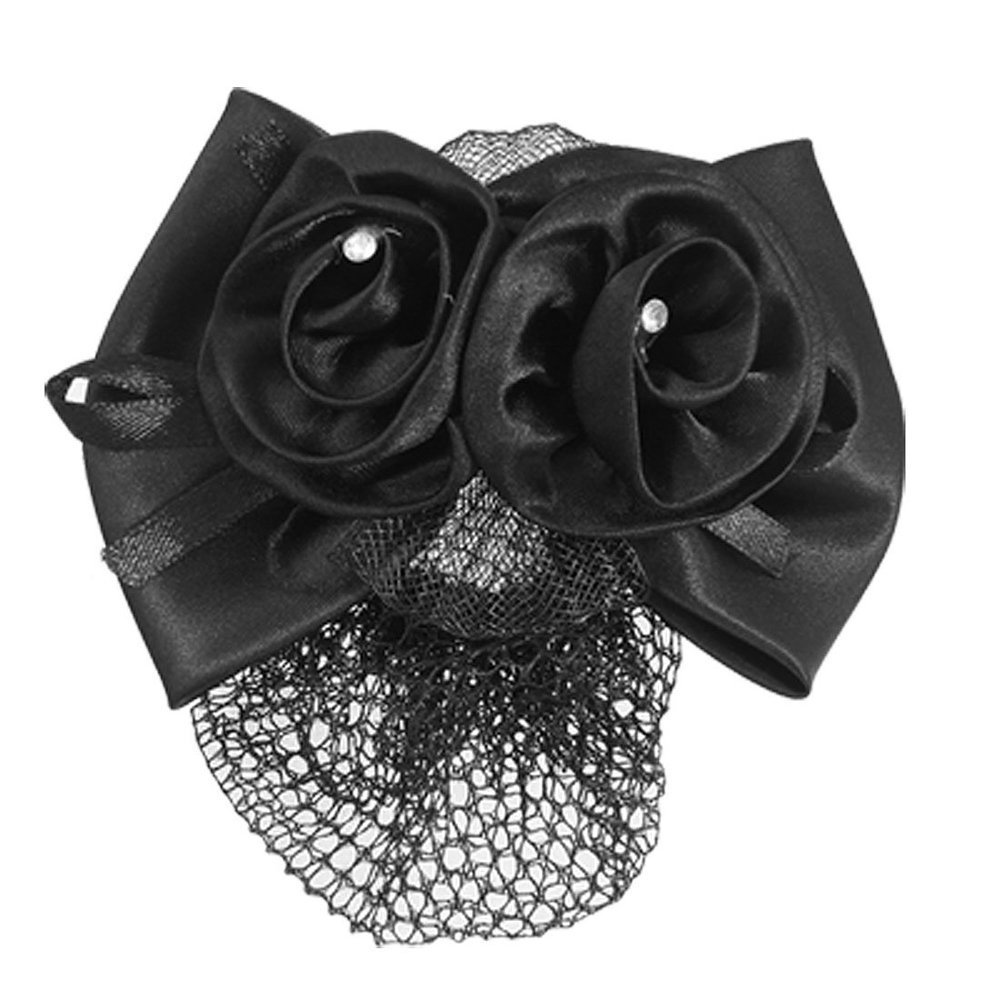 SODIAL(R) Black Polyester Bow Ribbon Metal Barrette Snood Net Bun Cover Hair Clip for Women 007945