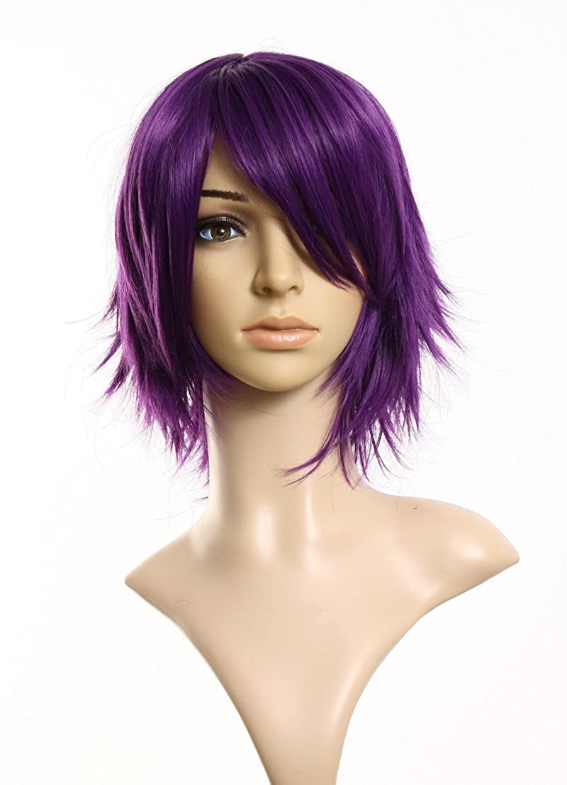 S-ssoy 32cm Short Purple Wigs Unisex Layered Heat Resistant Theater Cosplay Wig Hair with Oblique Bangs for Women Men Halloween Anime Costume Party Daily Use + Wig Cap