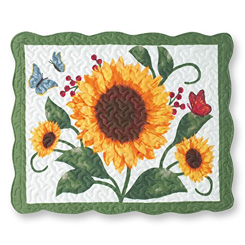 (Collections Etc Sunflower & Butterflies Floral Scalloped Edge Quilted Pillow Sham)