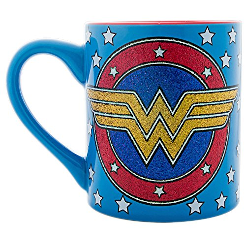 Wonder Awesome T-shirt Woman - Silver Buffalo WW110232G DC Comics Wonder Woman Stars & Logo Glitter Ceramic Mug, 14-Ounces