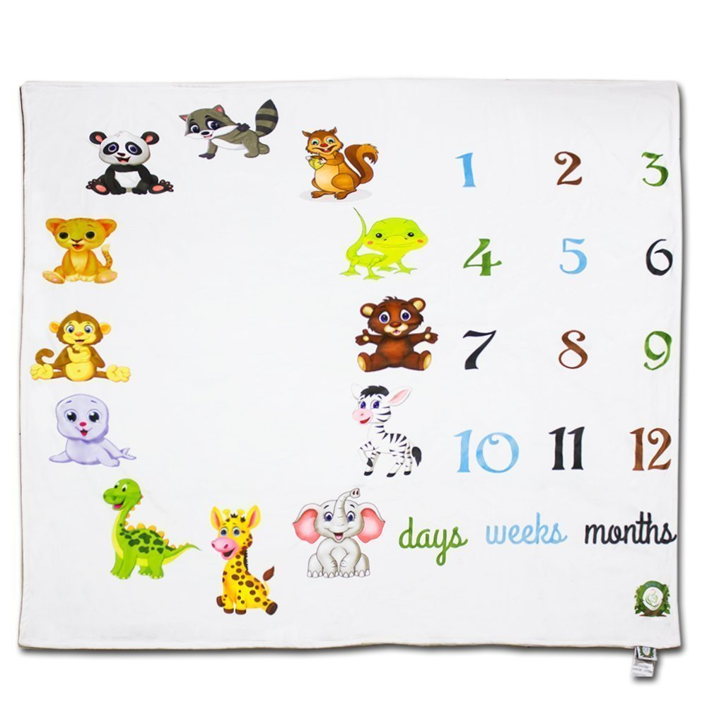 Spunky Sprouts Premium Double Layer Milestone Growth Blanket (WOOD ARROWS INCLUDED) Large Size. Weeks & Months-Great Gift For Newborns and Expecting Moms Photography for Boys or Girls by Spunky Sprouts (Image #3)