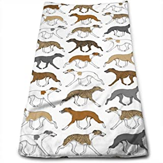 WCMBY Hand Towels Trotting Whippet Face Towels Highly Absorbent Towels for Face Gym And Spa 12' X 27.5'