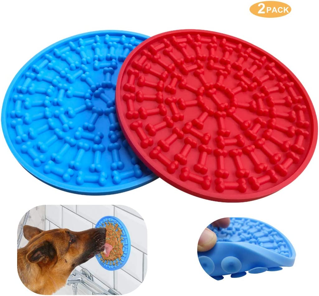 Helpcook Dog Lick Pad,Dog Bathing Distraction Device,Slow Treat Dispensing Mat with Super Suction,Lick Dog Mat Suctions to Wall for Pet Bathing, Grooming, and Dog Training