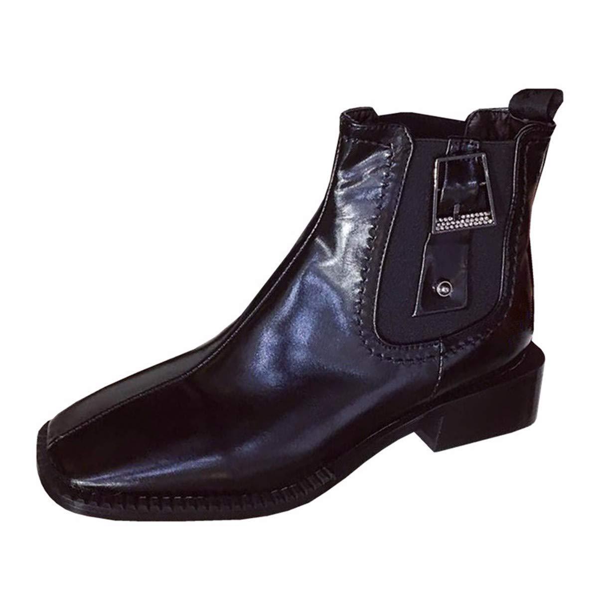 LBTSQ LBTSQ LBTSQ Fashion Damenschuhe Mode - Lokomotiv - Stiefel Heel 4Cm Gürtel Am Kopf Mitte Sohle Stiefel Schwarz Chelsea - Trend af13e8