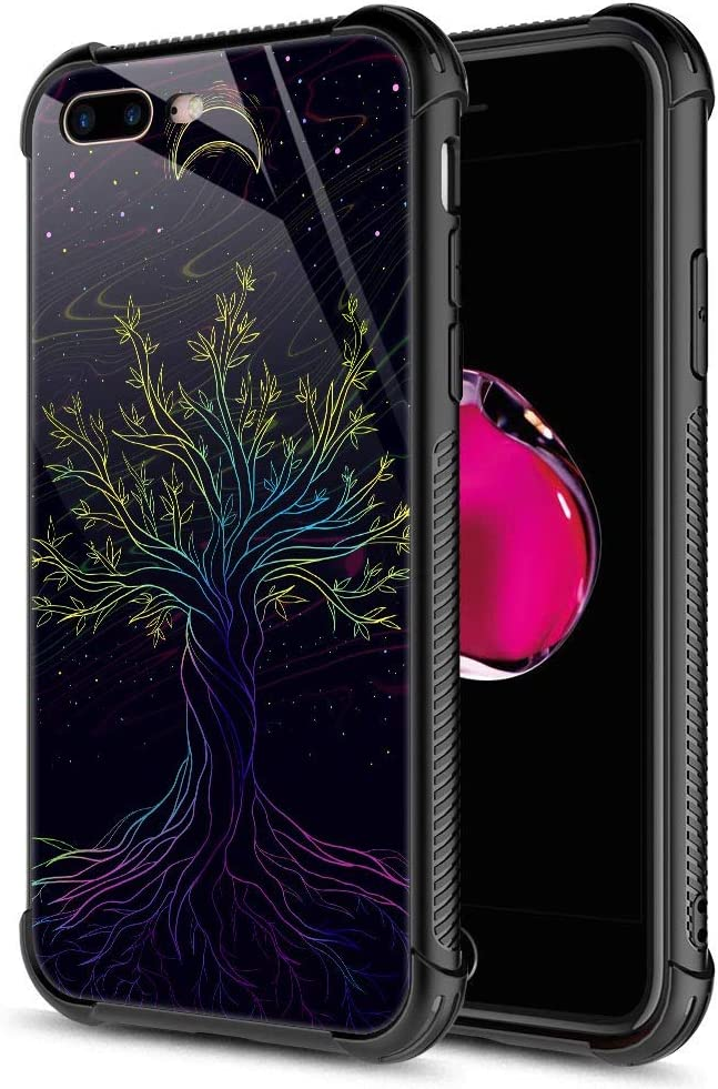 iPhone 8 Plus Case, 9H Tempered Glass Night Sky Tree of Life iPhone 7 Plus Cases [Anti-Scratch] Fashion Cute Pattern Design Cover Case for iPhone 7/8 Plus 5.5-inch Tree of Life