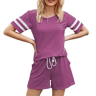 Details about  /Women T-Shirt Top Shorts Loungewear Suit Tracksuit Set Casual Running Sportswear