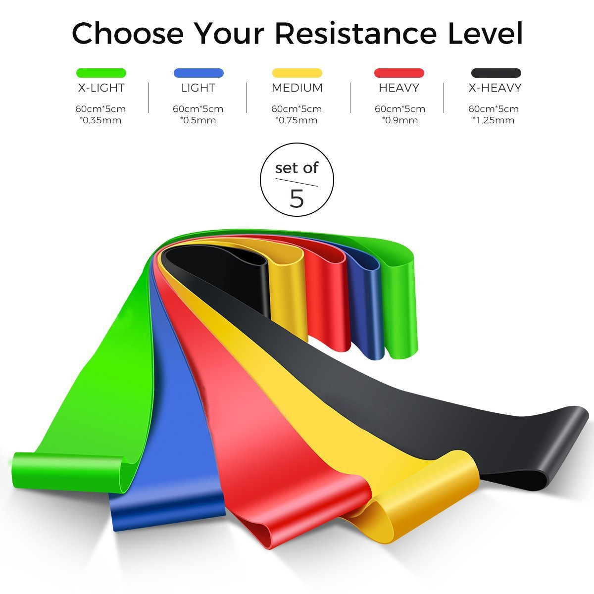 Fitness//Stretch//Yoga//Pilates Abdominal Exercise Equipment ResistanceBands Rantizon Resistance Bands and Sliders Gliding Discs Core Sliders and Exercise Resistance Loop Bands Set of 5 Natural Latex Workout Bands
