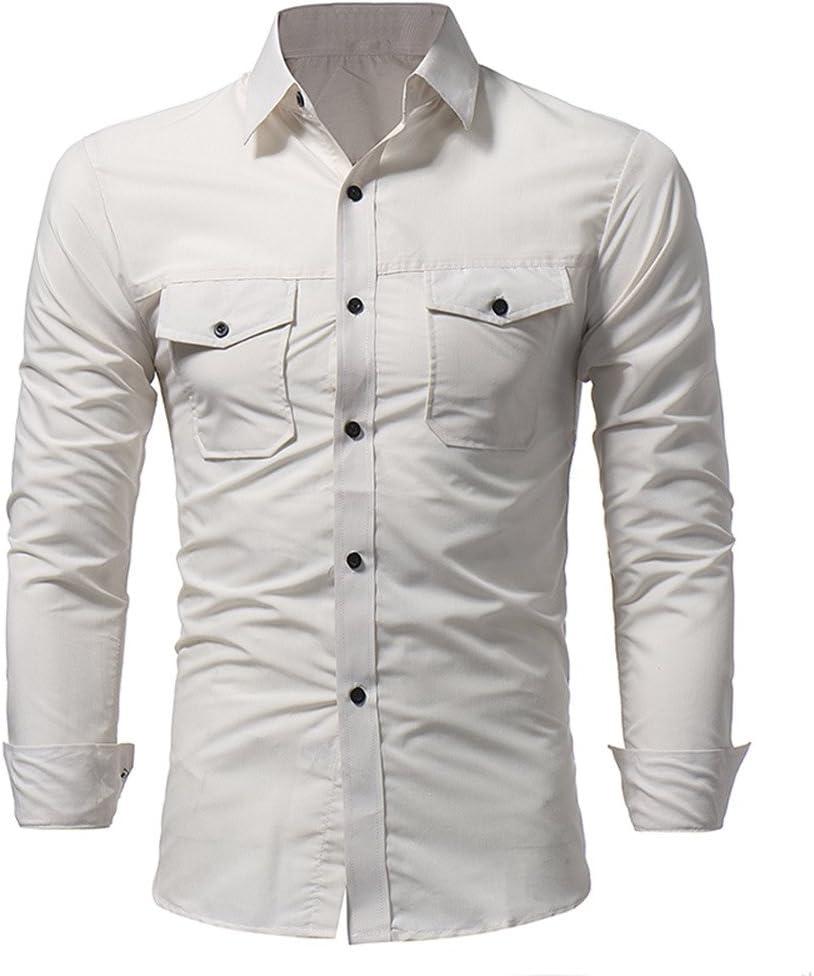 Camisa de hombre de Business con botón manga camisas camiseta manga larga Hombre Camiseta Manga Larga etiqueta Camisa de manga larga de hombre con doble botón Slim Fit Sudadera Polo para hombre,