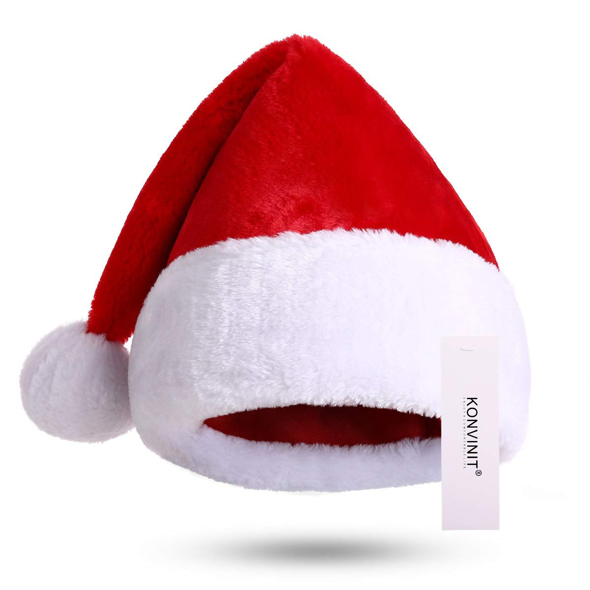 750108fb5650a KONVINIT Santa Hat, Xmas Hats, Father Christmas Hat Adults Deluxe Plush  Santa Claus Hat Costume Christmas Ornaments