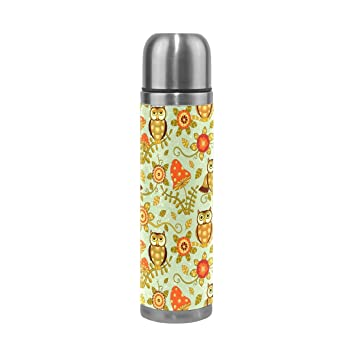 jstel Cute flores y búhos taza de viaje doble pared de acero inoxidable botella de agua