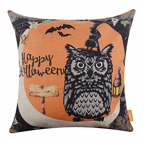 LINKWELL 18x18 inches Happy Halloween Owl Witch Hat