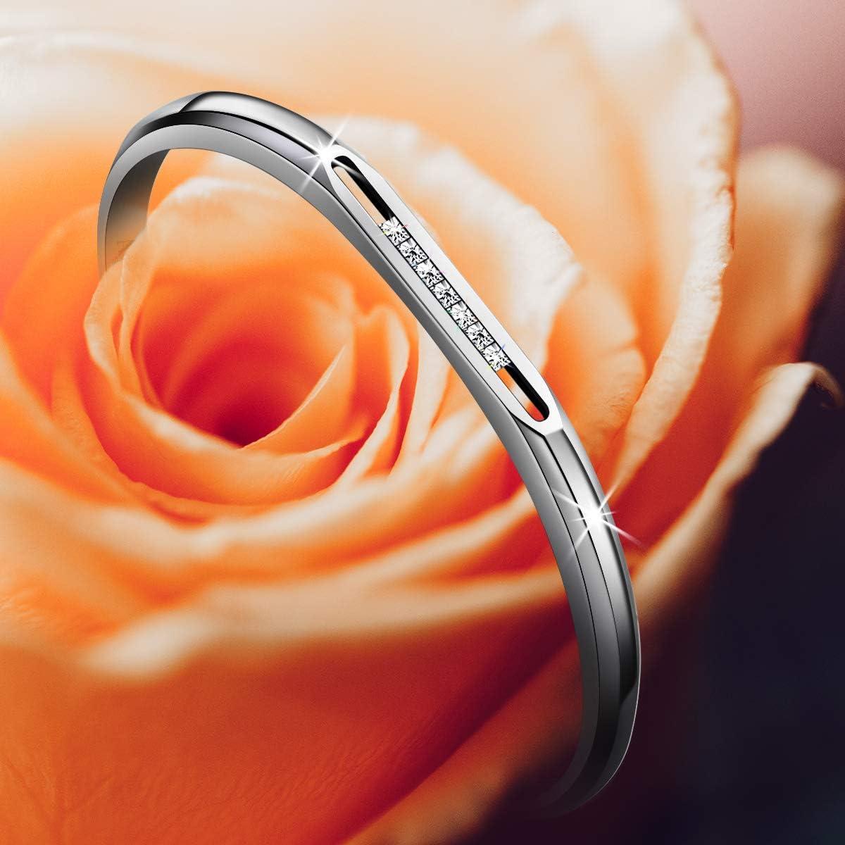 Glissable de Filles Jonc Manchette Ouvert Argent /& Or Rose Amtier Bracelet en Acier Inoxydable pour Femme avec 7 pi/èces Zirconium Cubique Cristaux
