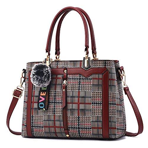 Bag Bag New And Plaid tartanburgundy Women Handbag Europe America XIAOLONGY Bag Trend Shoulder Ladies Big Bag Pu qOEwYnS