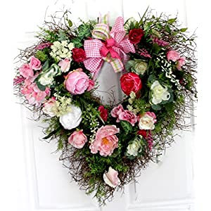 Extra large summer garden heart shaped wreath for front door, oversized wreath 30 inches 65