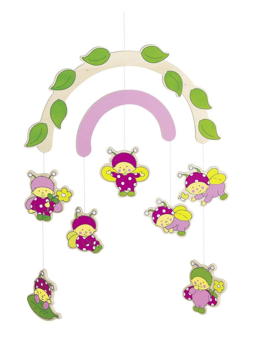 Ladybugs Wooden Ceiling Mobile By Goki
