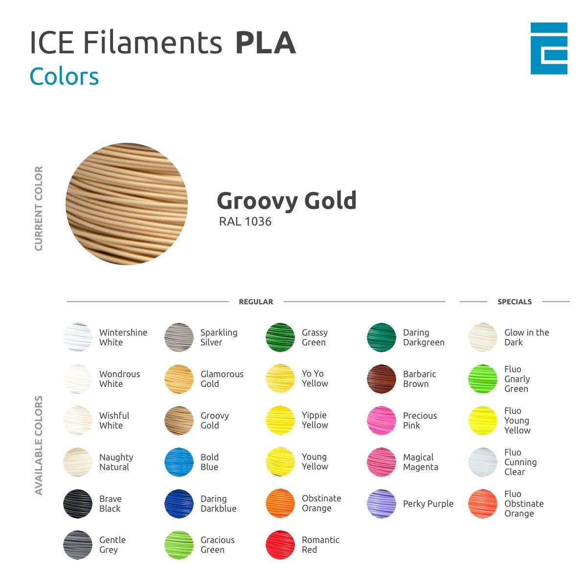 ICE Filaments ICEFIL1PLA107 PLA filamento 1.75mm 0.75 kg Groovy Gold