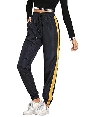 71f5a9f82b3e SOLY HUX Damen Sporthose Casual Farbeblock Streifen Sweatshose Sweatpants  Elastischer Bund Hose mit Taschen, Kordelzug  Amazon.de  Bekleidung