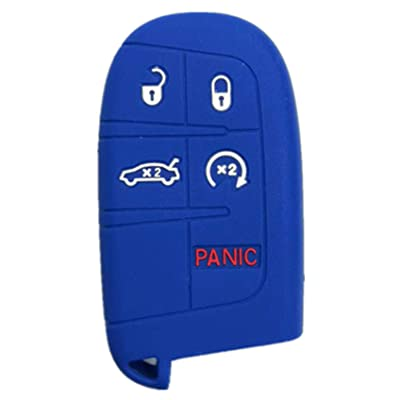 RUNZUIE Silicone Keyless Entry Remote Key Fob Cover Case Fit for Jeep Grand Cherokee Dodge Challenger Charger Dart Durango Journey Chrysler 200 300 (Blue 5 Buttons): Automotive