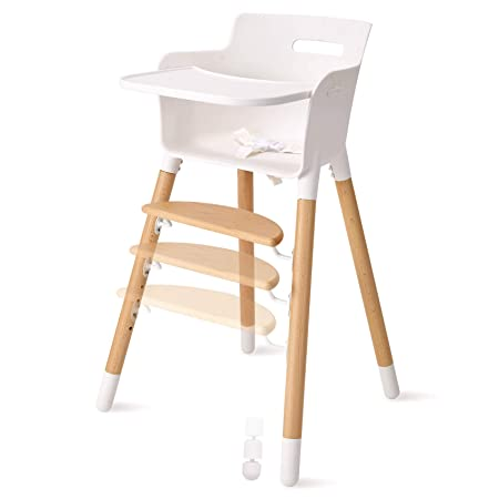 FUNNY SUPPLY Wooden Baby High Chair with Removable Tray Adjustable Footrest Legs Classic Design Grows with Your Child