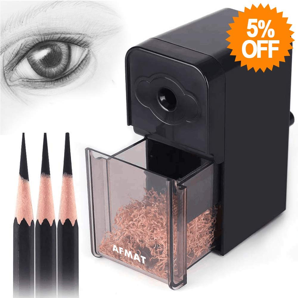 Long Point Pencil Sharpener, Artist Pencil Sharpener, AFMAT Art Drawing Pencil Sharpener for 6-8.2mm Sketching/Charcoal/Colored/Graphite Prismacolor Pencils with Sandpaper,Adjustable Pencil Nibs,Black