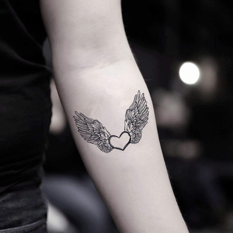Tatuaje Temporal de Corazón con alas de ángel (2 Piezas) - www ...