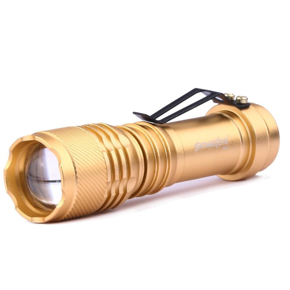 ZYooh XML CREE Q5 LED Tactical Flashlight,X800 Zoomable AA/14500 3 Modes Amazingly Bright 2000Lumen Flashlight (Gold)