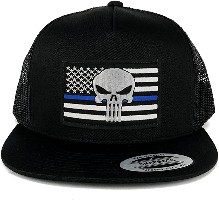 3ad205fa77a5c 5 Panel Punisher Thin Blue American Flag Embroidered Patch Flat Bill Mesh  Snapback - BLACK at Amazon Men s Clothing store