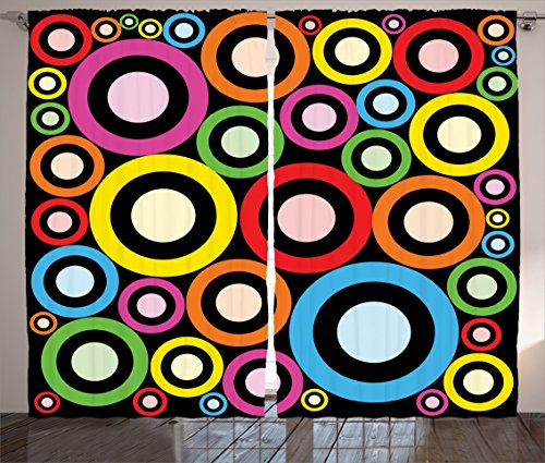 Ambesonne Groovy Decorations Collection, Fashionable and Funky Retro Ring Shaped Modern Art Geometric Revival Art, Living Room Bedroom Curtain 2 Panels Set, 108 X 84 Inches, Yellow Pink Blue - Curtain Funky