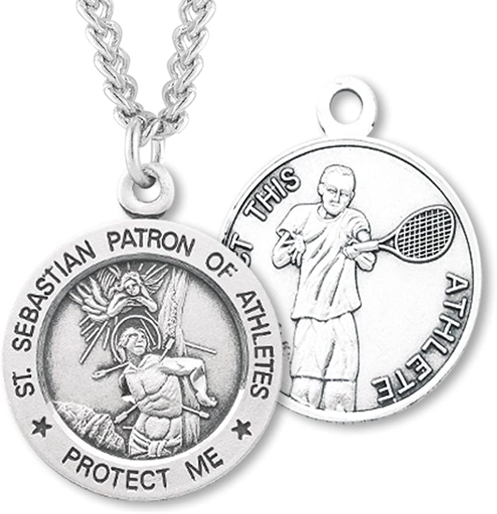 24 Chain Sterling Silver Guardian Angel//Soccer Pendant