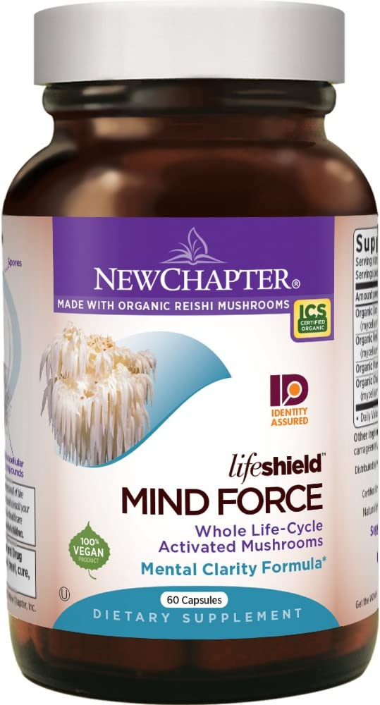 New Chapter Lion s Mane Reishi Mushroom – LifeShield Mind Force for Mental Clarity with Organic Reishi Mushroom Vegan Non-GMO Ingredients – 60 ct