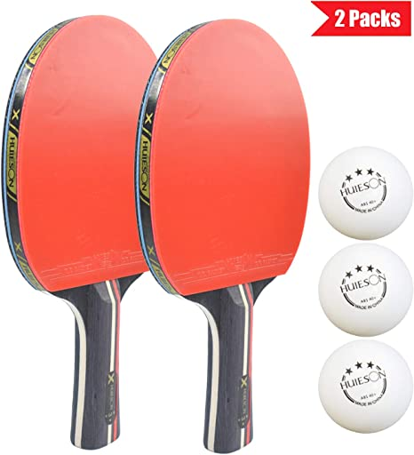 HUIESON 3 Star Ping Pong Rackets Profession Table Tennis Set with 2 Ping Pong Paddles,3 ABS Balls