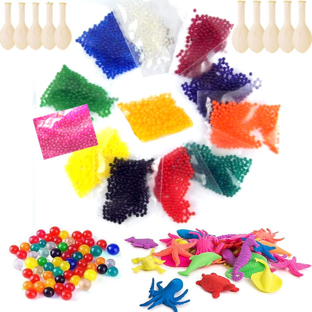 Large Water Beads rainbow 150 pcs,30000 Pcs Orbeez Balls Water Gel Beads Craft Vase Fillers Magic Soil Crystal Mud Water Jelly Beads, 30 pcs water growing animals 10 balloons diy decoration set