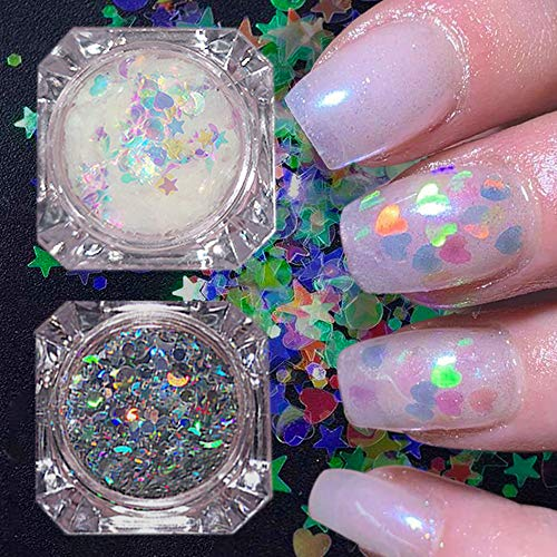 Mrsyel 2 Boxes Holographic Glitter Nail Art Sequins Iridescent Flakes Glitter Colorful Laser Confetti Sticker Manicure Nail Art Supplies DIY Decals Decoration Jewels Glitter