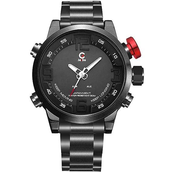 JeiSo - Reloj Deportivo para Hombre Multifuncional Impermeable Alarma Reloj Digital LED Correa de Acero Inoxidable - Blanco: Amazon.es: Relojes
