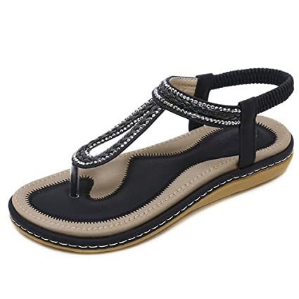 7249b9e03599b Image Unavailable. Image not available for. Color  Horly Summer Shoes Women  Beach Sandals Flat Sandals Flip Flops Soft Sandals Woman Casual ...