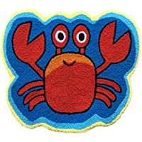 Ustide Cute Crab Rug Blue Handmade Bath Mat Animal Rugs for Kids Washable Non-Skid Floor Rug Toilet/Foyer Mats Small