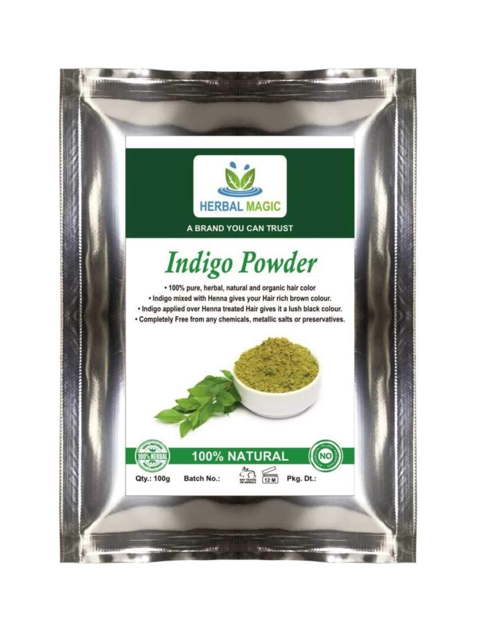 ORGANIC CERTIFIED BY USDA- INDIGO 'BLACK HENNA' POWDER / HERBAL HAIR DYE - GO BLACK/BROWN NATURALLY-ONLY BY HERBAL MAGIC- USDA/GMP/HALAL/ISO CERT (1Kg) NATURAL HAIR DYE GROWTH CONDITIONER ANTI HAIR LOSS DANDRUFF FREE SCALP THICKER FULLER HAIR VIGOUR SHINE