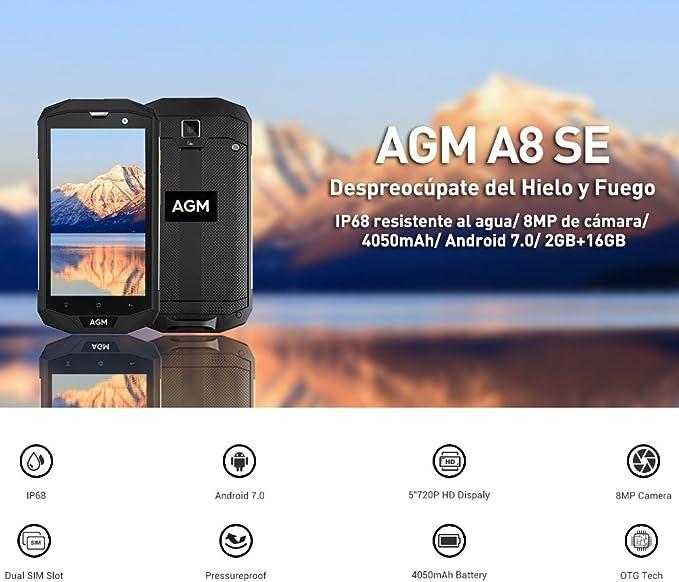 AGM A8 2GB RAM 16GB ROM Smartphone A8 SE Android 7.0 IP68 Impermeable para Aire Libre Qualcomm Snapdragon 410 Quad Core 2GB RAM 16GB ROM Pantalla 5 Pulgadas Batería 4050mAh Dual SIM