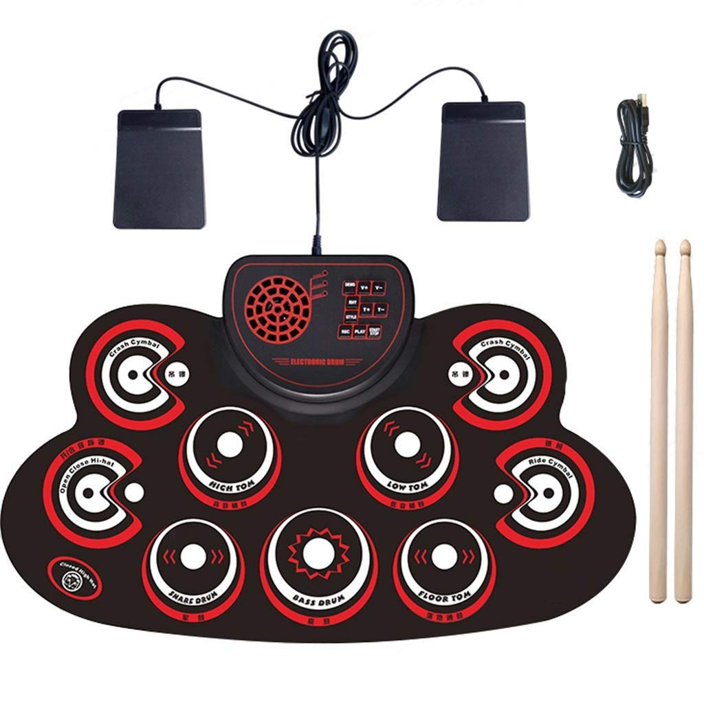 JLL Portable Electric Drum Set,Foldable Roll Up Electronic Drum Set Pad for Adults Kids Beginner Teens with Two Sticks Two Foot Pedals by JLL