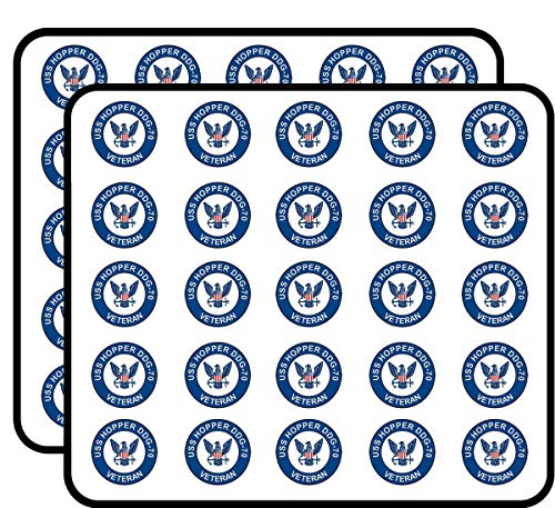 (US Navy USS Hopper DDG-70 Veteran Military Veteran Served 50 Pack Sticker for Scrapbooking, Calendars, Arts, Album, Bullet Journals and More 1