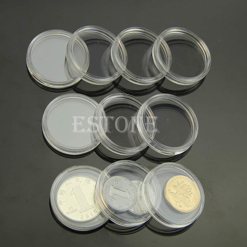 SimpleLife 10 Pezzi 28mm Trasparente Casi Rotondi Coin Capsule di immagazzinaggio Titolare plastica Rotonda