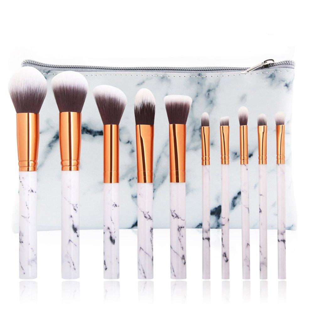 Rushpanda Marble Makeup Brush Set 10pcs Brushes Face Lock It Cushion Lip Pen 10 Nudi Beige Foundation Eyeshadow With Carry Bag Beauty