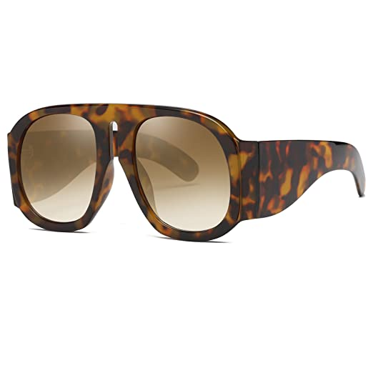 28bdb835323 Image Unavailable. Image not available for. Color  SIKYGEUM Oversized  Sunglasses Women Multi Tinted Thick Big Frame Clout Goggles