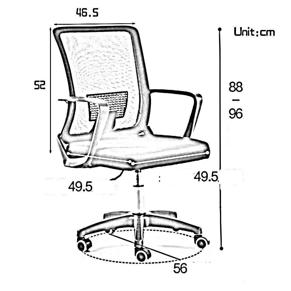 Kontorsstol excutive kontorsstol med ländrygg stöd nät dator skrivbord stol ett stycke armstöd justerbar höjd ergonomisk spelstol för kontor mötesrum (färg: svart) grå