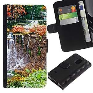LASTONE PHONE CASE / Lujo Billetera de Cuero Caso del tirón Titular de la tarjeta Flip Carcasa Funda para Samsung Galaxy S5 V SM-G900 / Nature Waterfall