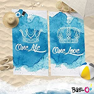 Babloo Coppia di Teli Mare Love You And Me One Life One Love -100x180- 4 spesavip