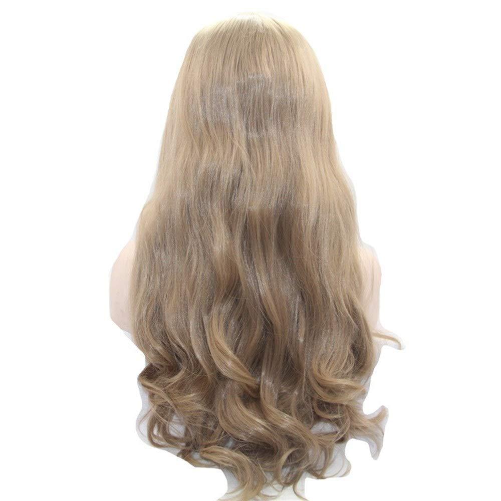 ZhengFei Wig Chemical Fiber Front Lace Half Hand Hook Mechanism Wig Headgear Brown Big Wave Long Curly Hair Wig Wig Lady
